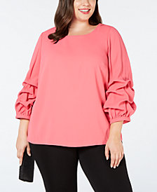 Alfani Plus Size Billow-Sleeve Blouse, Created for Macy's