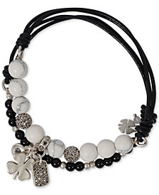 Lucky Brand Silver-Tone 2-Pc. Set Crystal, Stone & Bead Clover Leather Stretch Bracelets