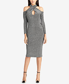 RACHEL Rachel Roy Metallic Halter Bodycon Dress