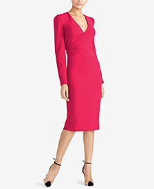 RACHEL Rachel Roy Surplice-Neck Long-Sleeve Sheath Dress