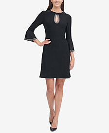 Tommy Hilfiger Embellished Bell-Sleeve A-Line Dress