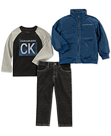Calvin Klein Toddler Boys 3-Pc. Logo-Print T-shirt, Bomber Jacket & Jeans Set
