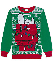 Dr. Seuss Big Boys Sleepy Snoopy Holiday Sweater