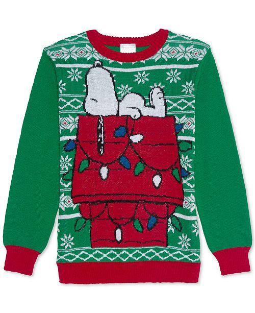 Dr. Seuss Big Boys Sleepy Snoopy Holiday Sweater