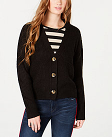 Ultra Flirt Juniors' Cropped Button-Front Cardigan