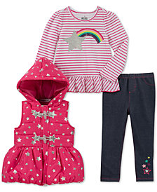 Kids Headquarters Little Girls 3-Pc. Vest, Peplum T-Shirt & Denim Leggings Set