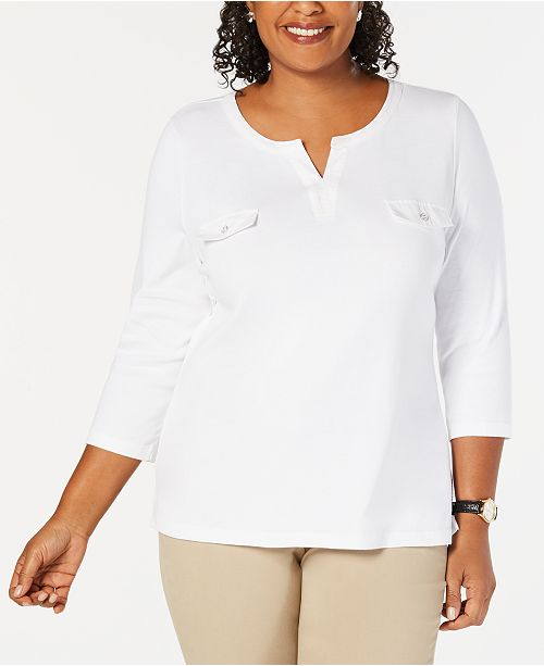 58fab4ebb6b0c Karen Scott Plus Size Cotton Split-Neck Top