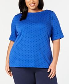Karen Scott Plus Size Dot-Print Top, Created for Macy's