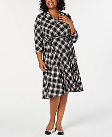 Plus Size Plaid V-Neck Dress, Created for Macy's