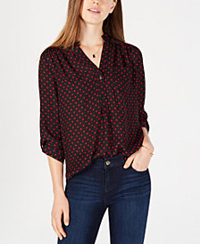 BCX Juniors' High-Low Dot-Print Top