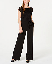 BCX Juniors' Lace Wide-Leg Jumpsuit