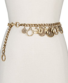 DKNY Token Logo Charm Chain Belt, Created for Macy's