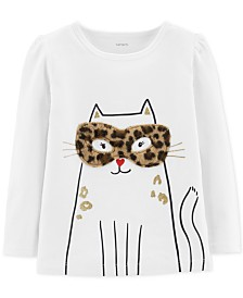 Carter's Toddler Girls Cat-Print T-Shirt With Faux-Fur Trim