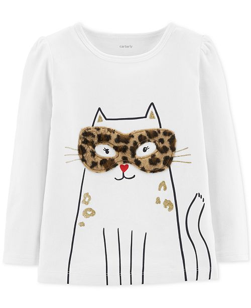 Carter's Toddler Girls Cat-Print T-Shirt With Faux-Fur Trim