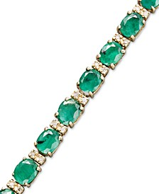 Brasilica by EFFY® Emerald (9-1/3 ct. t.w.) and Diamond (1/4 ct. t.w.) Tennis Bracelet in 14k Gold