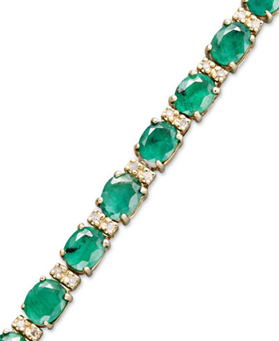 Brasilica by EFFY Emerald (9-1/3 ct. t.w.) and Diamond (1/4 ct. t.w.) Tennis Bracelet in 14k Gold