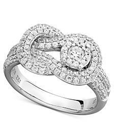 Diamond Pave Knot Ring in 14k White Gold (3/4 ct. t.w.)
