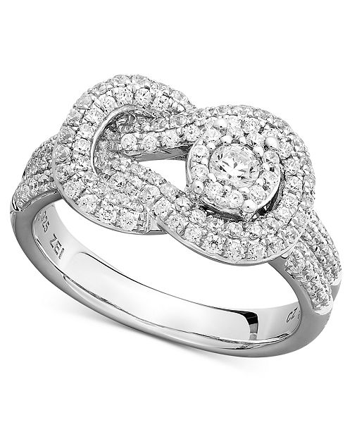 Macy's Diamond Pave Knot Ring in 14k White Gold (3/4 ct. t.w.)
