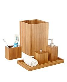 5-Piece Bamboo Bath And Vanity Luxury Bathroom Essentials Accessory Set