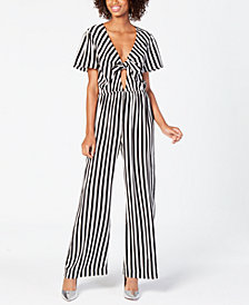 Material Girl Juniors' Front-Tie Jumpsuit, Created for Macy's