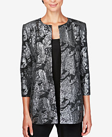 Alex Evenings Metallic-Print Jacket & Top