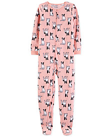 Carter's Little & Big Girls Dog-Print Fleece Footed Pajamas
