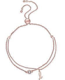 kate spade new york Rose Gold-Tone Crystal & Initial Double-Row Slider Bracelet