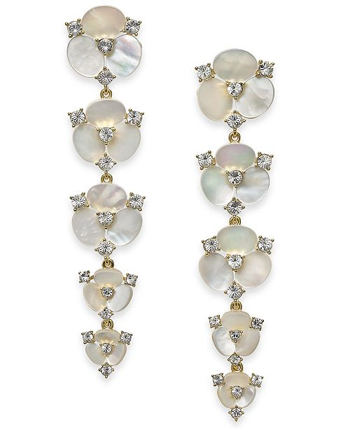 kate spade new york Gold-Tone Crystal & Imitation Mother-of-Pearl Flower Linear Drop Earrings