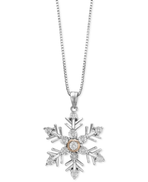 Diamond Accent Snowflake Pendant Necklace in Sterling Silver and 14k Rose Gold