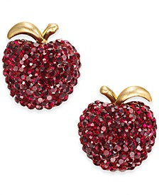Gold-Tone Pavé Apple Stud Earrings