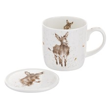 "Royal Worcester Wrendale 11 oz. Donkey Mug & Coaster, ""Gentle Jack"""