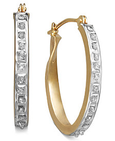 14k Yellow or White Gold Earrings, Diamond Accent Oval Hoop Earrings