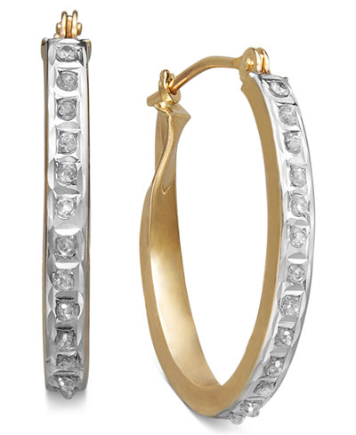 14k Yellow or White Gold Earrings, Diamond Accent Oval Hoop Earrings