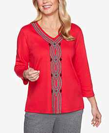 Alfred Dunner Sutton Place Soutache Embellished Top