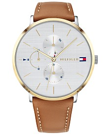 Tommy Hilfiger Women's Camel Brown Leather Strap 40mm Created for Macy's