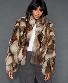 Pieced Fox Fur Cropped Jacket