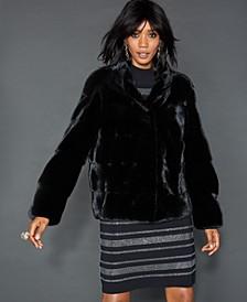 Stand-Collar Mink Fur Jacket