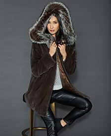 Fox-Fur-Trim Reversible Mink Coat