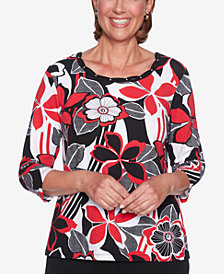 Alfred Dunner Sutton Place Floral-Print Embellished Top