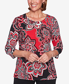 Alfred Dunner Sutton Place Printed Embellished-Neck Top