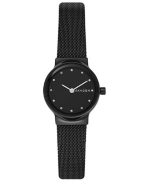 Women'S Freja Black Stainless Steel Mesh Bracelet Watch 26Mm