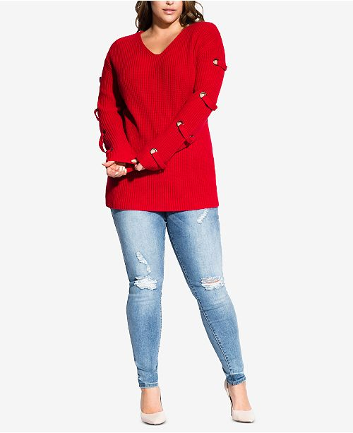 003582a34fa City Chic Trendy Plus Size Grommet-Sleeved Sweater   Reviews ...