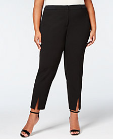 Calvin Klein Plus Size Lux Stretch Split-Hem Pants