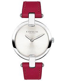 COACH Women's Chrystie Red Leather Bangle Strap Watch 32mm