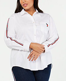 Tommy Hilfiger Plus Size Cotton Striped-Sleeve Shirt, Created for Macy's