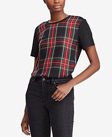 Lauren Ralph Lauren Plaid-Panel T-Shirt