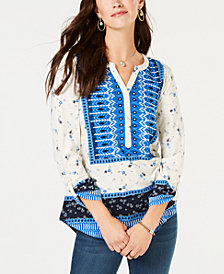 Style & Co Petite Mixed-Print Utility Top, Created for Macy's