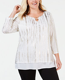 JM Collection Plus Size Layered-Look Metallic Top, Created for Macy's