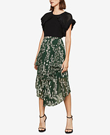 BCBGMAXAZRIA Stream of Bloom Asymmetrical Skirt
