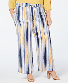 JM Collection Plus Size Tie-Waist Printed Pants, Created for Macy's